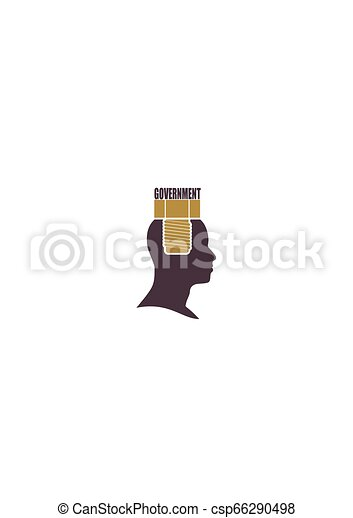Human head with word government flat icon. - csp66290498