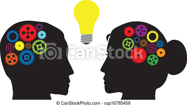 Human Heads with Colorful Gears Illustration - csp16785459