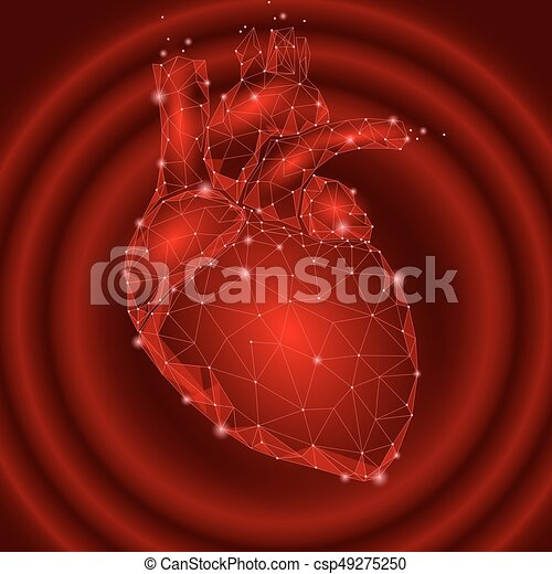 Human heart beats internal organ triangle low poly clipart human heart beats internal organ triangle low poly connected dots red color impulse technology 3d ccuart Gallery