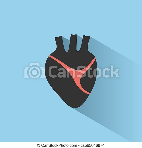 Human heart icon with shade on a blue background - csp65046874