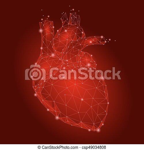 Human heart internal organ triangle low poly connected dots red human heart internal organ triangle low poly connected dots red color technology 3d model medicine ccuart Gallery