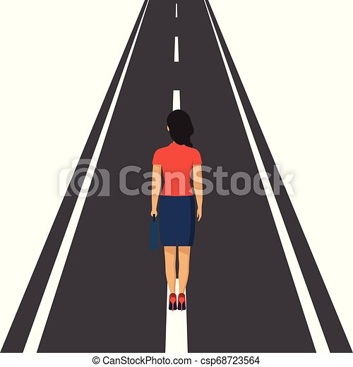 Human is standing on road vector concept. Way forward. Business metaphor. Vector illustration in flat style. - csp68723564