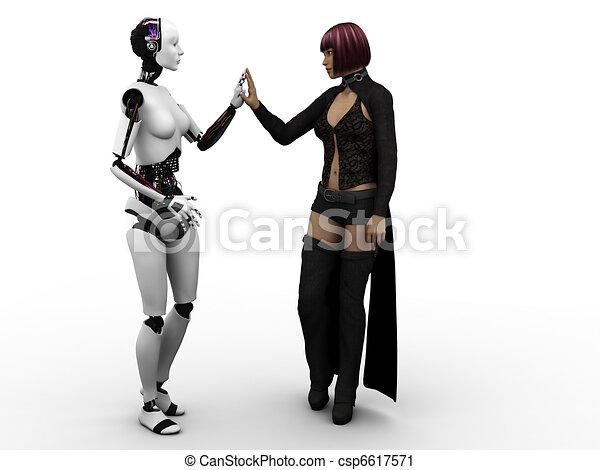 Human meeting robot. - csp6617571