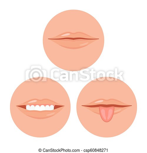 human mouth with tooth and tongue, vector illustration set