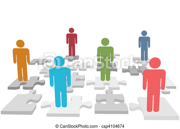 Human resources people stand on jigsaw puzzle pieces - csp4104674