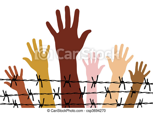 Human Rights Diversity Hands Behind A Barbed Wire Vector