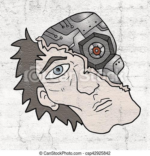 human robot face - csp42925842