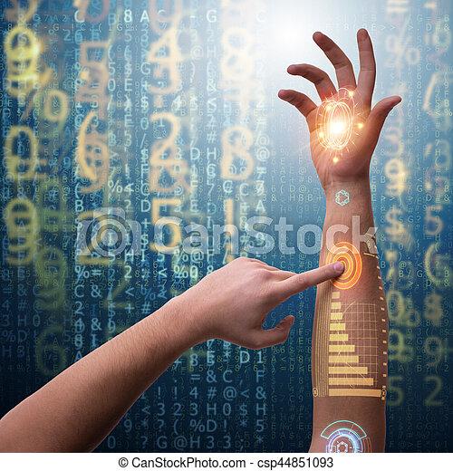 Human robotic hand in futuristic concept - csp44851093