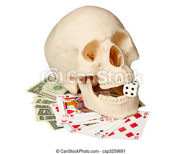 Human skull, playing cards and money - csp3259691