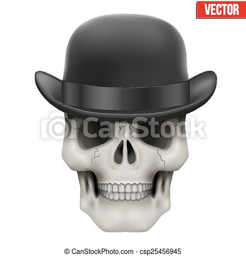 Human skull with black bowler hat - csp25456945