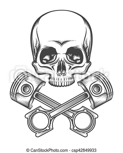 Human skull with engine pistons. Human skull and crossed... vectors - Search Clip Art ...