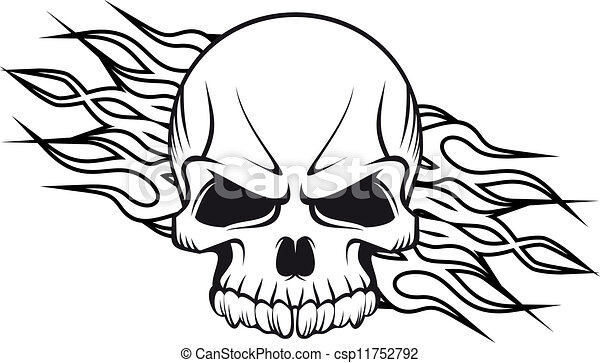 Human skull with flames - csp11752792