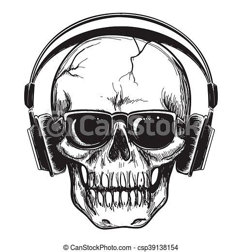 Human skull with headphones - csp39138154