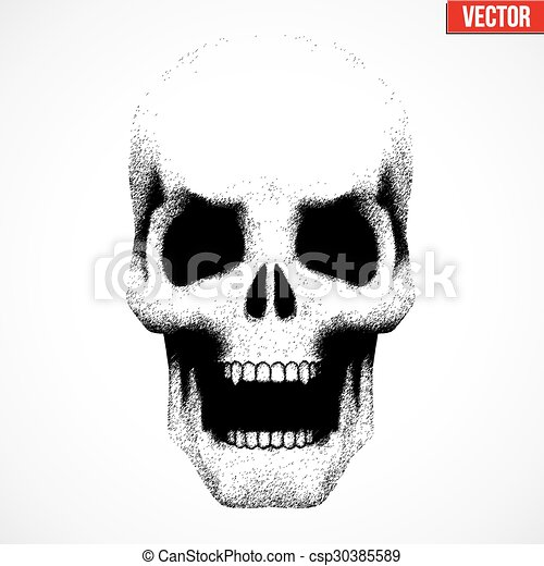 human skull with open mouth in sketch style