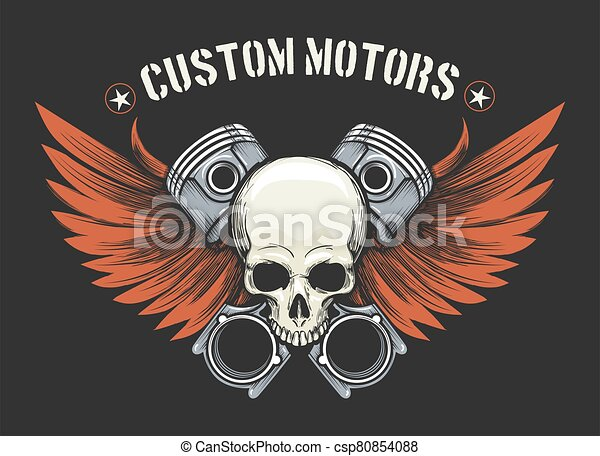 Human Skull with Pistons and Wings Emblem - csp80854088