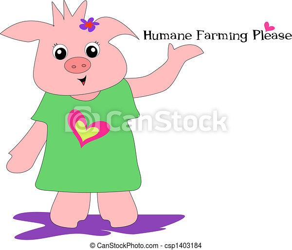 Humane Farming Please Pig Vector - csp1403184