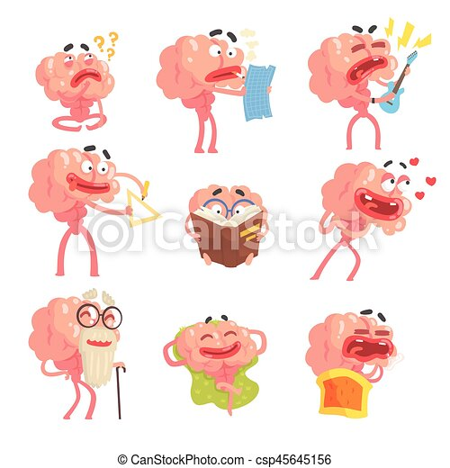 Humanized Brain Cartoon Character With Arms And Legs Funny Life Scenes And Emotions Set Of Illustrations - csp45645156