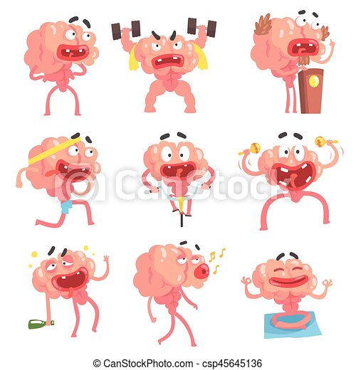 Humanized Brain Cartoon Character With Arms And Legs Funny Life Scenes And Emotions Collection Of Illustrations - csp45645136