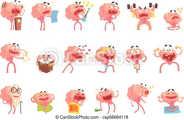 Humanized Brain Cartoon Character With Arms And Legs Funny Life Scenes And Emotions Set Of Illustrations - csp56664118