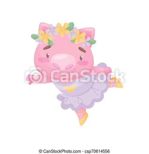 Humanized pig in a ballerina lilac dress. Vector illustration on white background. - csp70614556