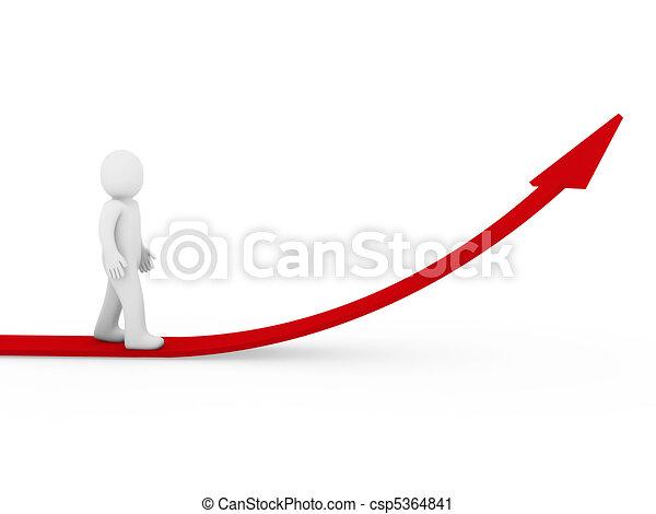 Flecha humana 3D de éxito en crecimiento rojo - csp5364841