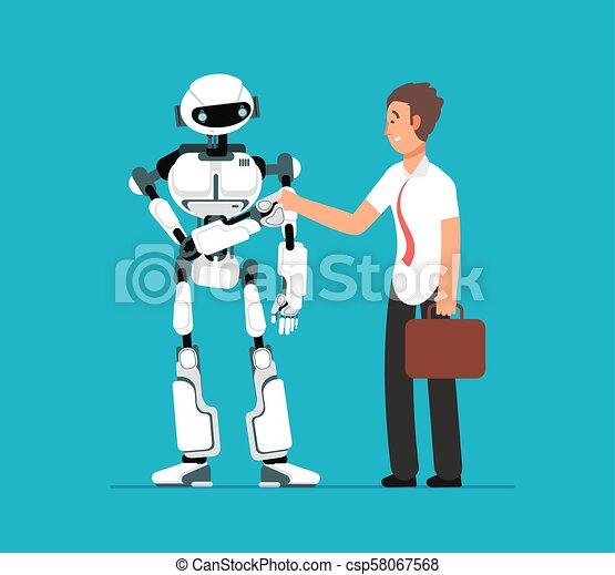 Hombre de negocios estrechando la mano de los robots. Inteligencia artificial, vector humano vs vector de origen futurista - csp58067568
