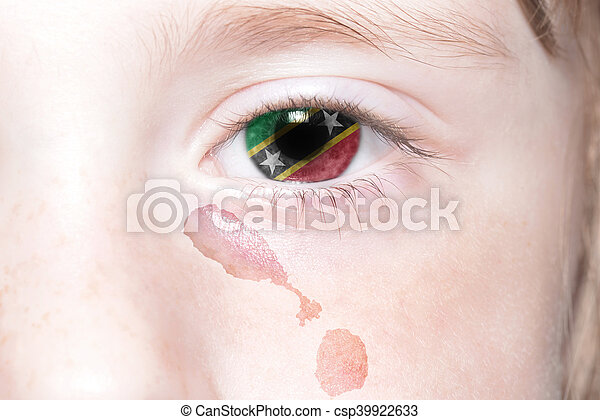 human's face with national flag and map of saint kitts and nevis. - csp39922633