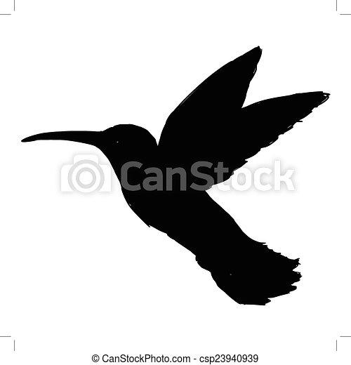 black silhouette of hummingbird