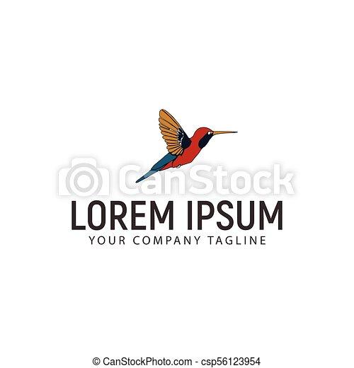 hummingbird logo design concept template