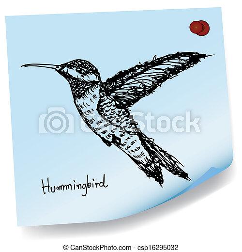 hummingbird sketch on sticky paper image of hummingbird vectors