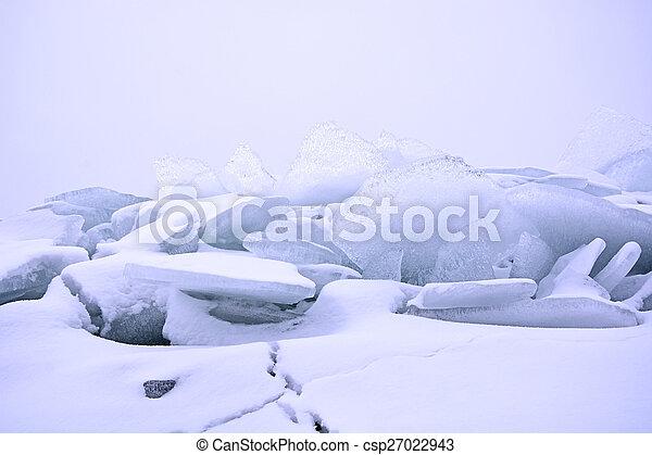 Hummock on the frozen sea shore at winter season - csp27022943