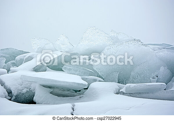 Hummock on the frozen sea shore at winter season - csp27022945