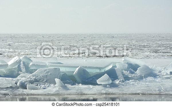 Hummock on the frozen sea shore at spring season - csp25418101