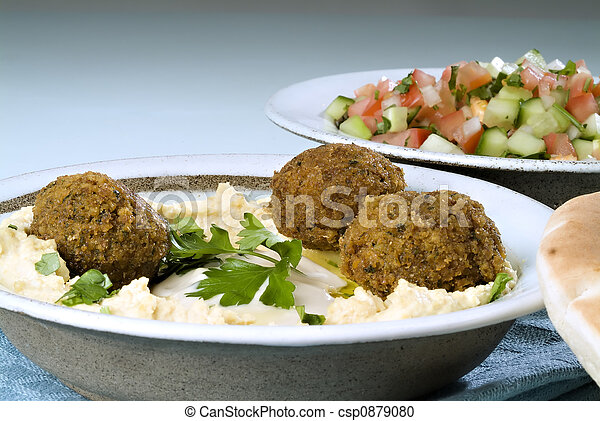 hummus falafel and arabic salad - csp0879080