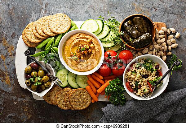 hummus, legumes, platter, grão, salada - csp46939281