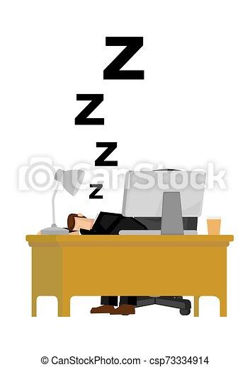 Un hombre de negocios cansado y durmiendo en la oficina. Vida humilde de oficina. Ilustración vectorial aislada. - csp73334914