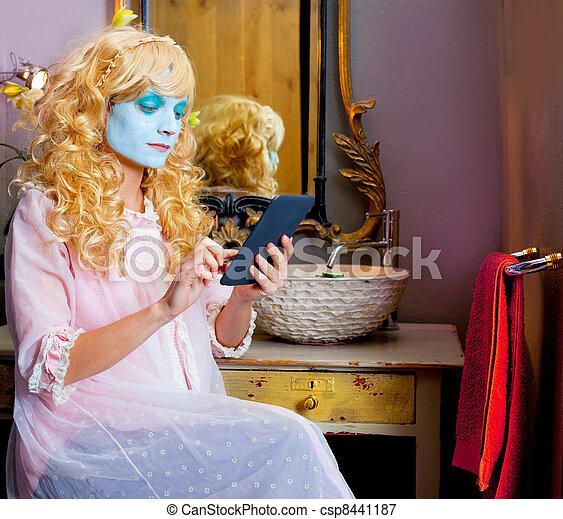 Humor woman in bathroom with ebook tablet - csp8441187