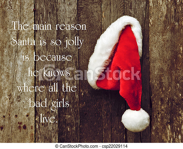 Humorous quote about Santa Clause by George Carlin, with Santa's hat hanging on a rustic wooden wall. - csp22029114