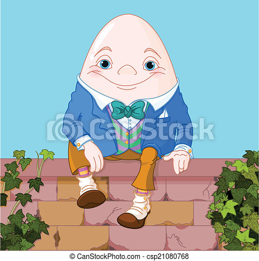 humpty dumpty egg sitting on a brick wall rh canstockphoto com humpty dumpty wall clipart humpty dumpty wall clipart