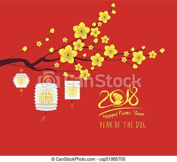Hund, chinesisches , blüte, kirschen, gruß, 2018, hintergrund, jahr ...