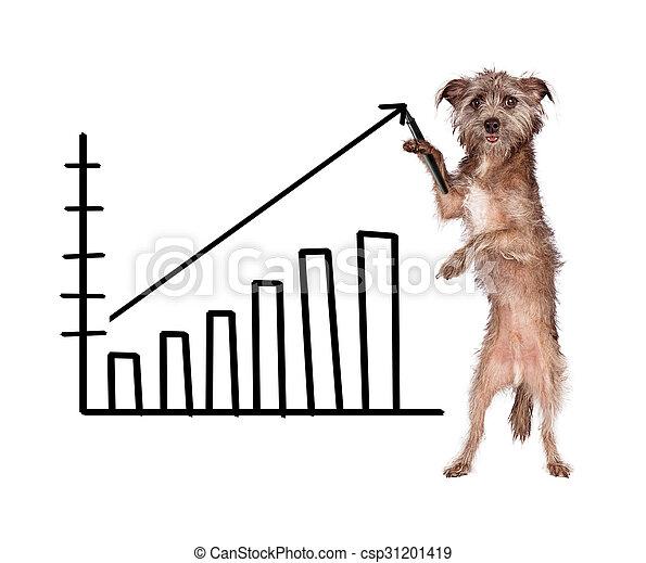 hund, zeichnung, wachsender umsatz, tabelle - csp31201419