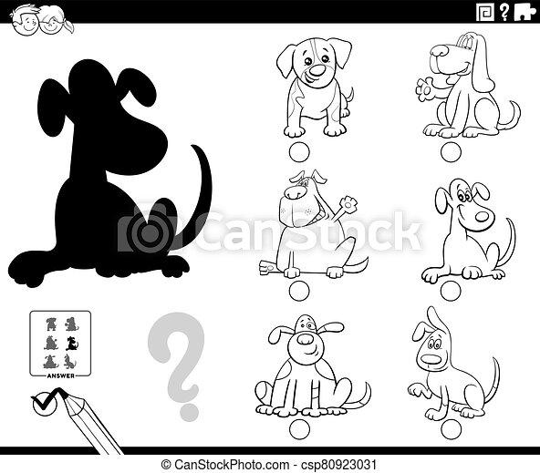hunden, spiel, karikatur, farbe, seite, schatten, buch - csp80923031