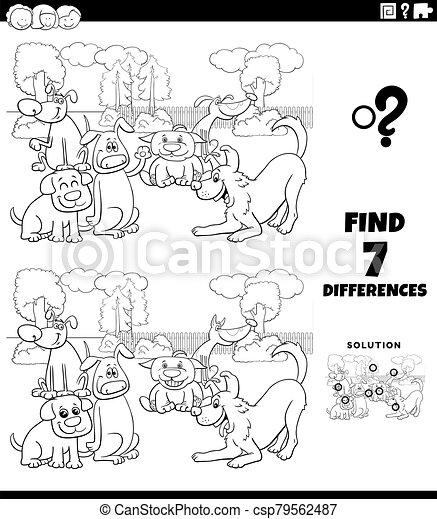 hunden, unterschiede, spiel, karikatur, gruppe, farbe, seite, buch - csp79562487
