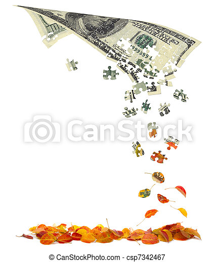 Hundred dollar bill converting to autumn leaves - csp7342467