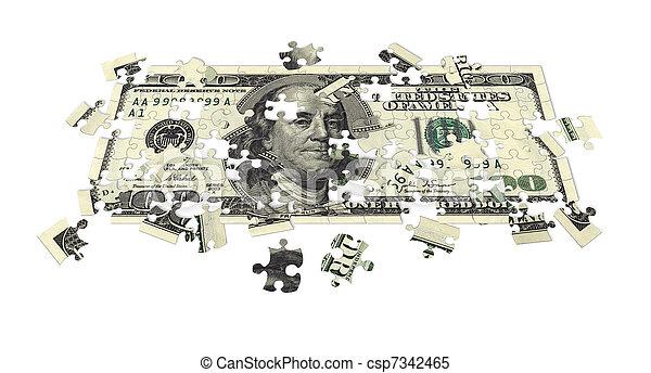Hundred dollar bill puzzled - csp7342465