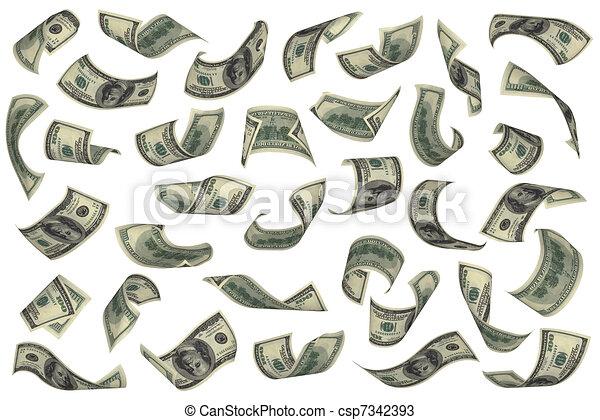 Hundred Dollar Bills Falling On White Background No Overlap Easy