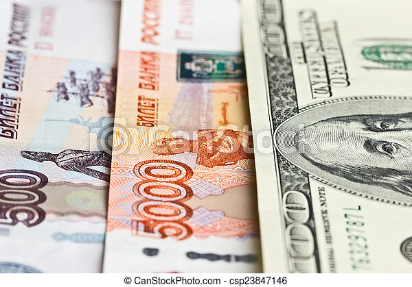 Hundred dollars, five thousand and five hundred rubles - csp23847146