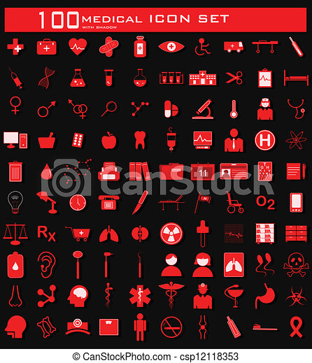 Hundred Medical Icon Set - csp12118353