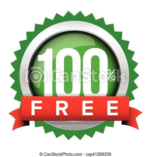 Hundred percent free badge with ribbon - csp41269339