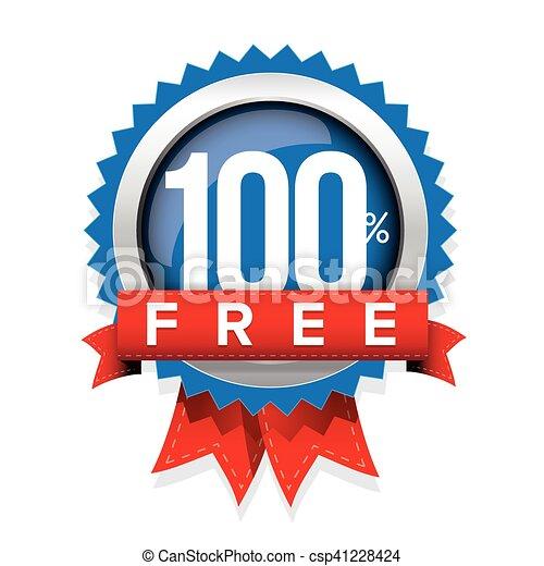 Hundred percent free badge with ribbon - csp41228424